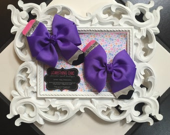 Back to School Pencil Hair Bows Purple Bow