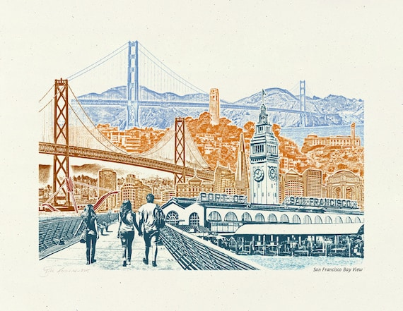 San Fransisco Bay View - Art Print of SF, California - 8.5x11, 11x14, and 16x20 Poster