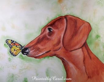 Dachshund Print, Dachshund Painting, Dachshund Art, Dachshund Giclee, Dachshund gifts , Dachshund Watercolor, Wiener Dog Painting, Doxie Art