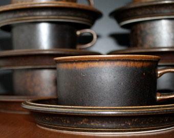 Arabia Finland Ruska Dishes Vintage Dinnerware Mid Century Modern Coffee Mugs Danish Modern Kitchen Housewares Gifts Eames Home Mod  Teacups