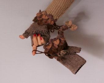 Knit Fingerless Gloves, Crochet Gloves, Crochet Fingerless Gloves, Winter Wool Gloves, Wrist Warmers, Brown Gloves, Winter Accessories