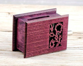 Square flower wooden box music - viola dark pink purple