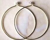"""3"""" Hoop Earrings - Seemless - Illusion Hoops - Brass - Hammered - Screw Backs"""