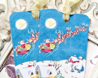 Reindeer Gift Tags (6) Christmas Gift Tags-Santa Tags-Holiday Tags-Treat Tags-Favor Tags-Blue Christmas Tags-Christmas Gift Wrap-Winter Tags