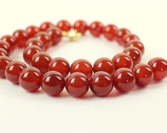 12mm Carnelian Necklace - VARIOUS Length Options. 12 mm Carnelian Beads. Grade 'A' Therapeutic Healing Grade. MapenziGems