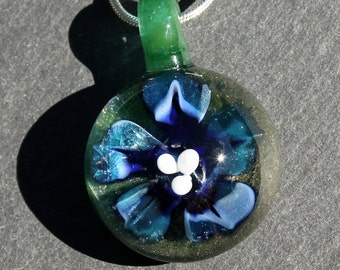 Glass Implosion Flower, Hand Blown Lampwork Boro pendant, Sparkling Blue
