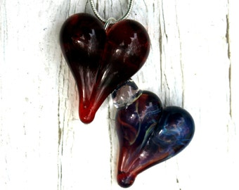 Double Heart Pendant, Red and Purple Lampwork Glass Necklace, Hand Blown Jewelry Dual Hearts