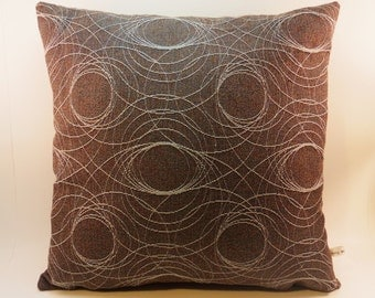 Gray Brown Pillow, Embroidered Thread in Swirl Pattern, Designer Material