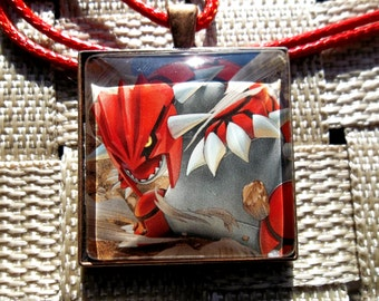 Groudon - Legend of Fire and Land - Glass Pendant made from Trading Cards
