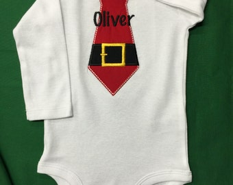 Santa Tie One-Piece or T-Shirt - Personalized