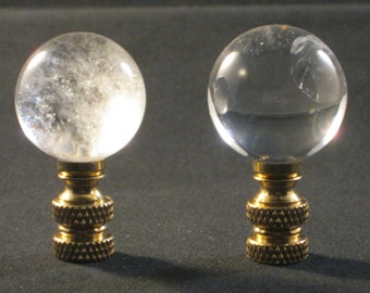 Lamp Finial-Natural Rock Quartz Crystal Sphere-Solid Brass Base (1 PC.)