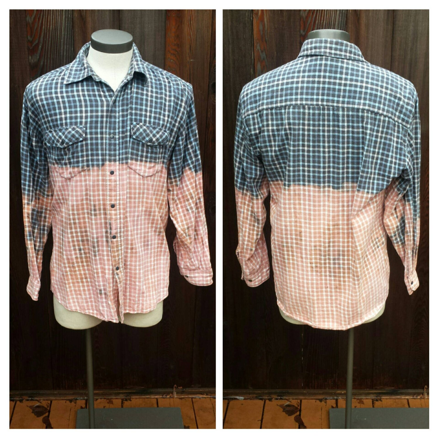 Upcycled Clothing Dip Dyed Light Blue And Grey Flannel Shirt