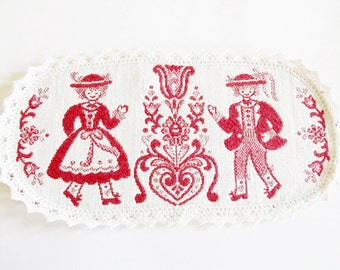 Lovely Vintage Folk Art Oval  Doily with Folk Art Dancing couple and Bobbin Lace Trim, made in Austria