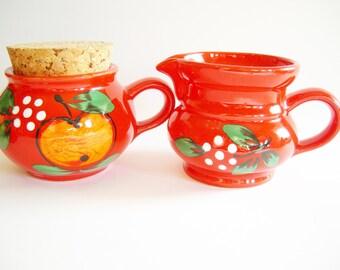 Rustic Set of Red German Vintage Waechtersbach Sugar Bowl & Creamer Made in West Germany Ceramic from 70ies