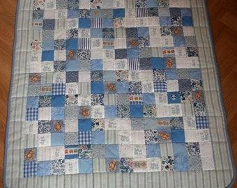 Baby Cot Quilt/Play mat. Reversible Patchwork Quilt. Blues/childrens motifs