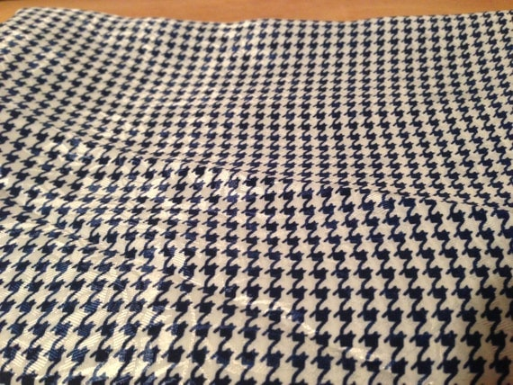 Blue and White Houndstooth Polyester Fabric F25