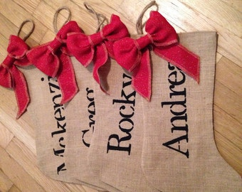 Burlap Personized stocking with bow