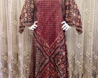 Amazing 1970s Boho Godess Indian Block Print Cotton Tunic Dress With Angel Sleeves