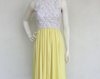 Beautiful 1960's Victoria Royal Ltd. cream crochet floral lace and yellow dress