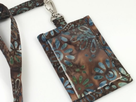 Brown and Blue Floral Batik Cotton Clip On ID Holder with Hidden Cash Stash and Matching Lanyard