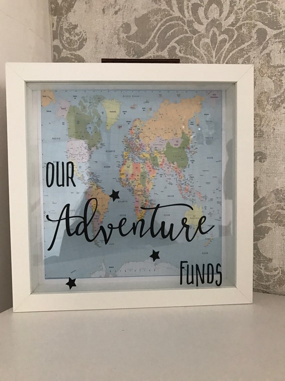 Adventure holiday funds saving money box frame for Money saving box ideas