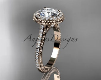 14kt rose gold diamond unique engagement ring, wedding ring ADER97