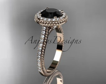 14kt rose gold diamond unique engagement ring, wedding ring with a Black Diamond center stone ADER97