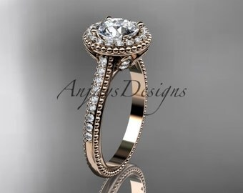 14kt  rose gold diamond floral wedding ring,engagement ring ADLR101