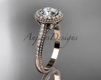 14kt  rose gold diamond floral wedding ring,engagement ring ADLR101