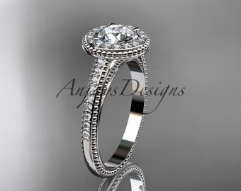 """14kt white gold diamond unique engagement ring, wedding ring with a """"Forever One"""" Moissanite center stone ADER104"""