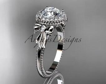 14kt  white gold diamond unique engagement ring,wedding ring ADER157