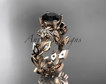 14k rose gold diamond floral leaf and vine wedding ring, engagement ring with a Black Diamond center stone ADLR215