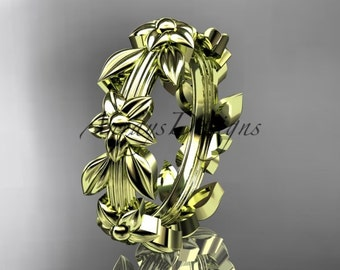 14kt yellow gold leaf wedding ring, engagement ring, wedding band ADLR316G