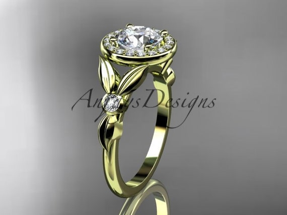 14kt yellow gold diamond floral wedding ring, engagement ring ADLR129