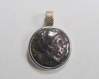 Hercules authentic ancient Greek coin pendant. (c10)
