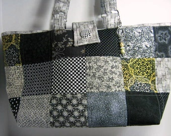 Basket Weave Lined Quilted Patchwork Yarn Knitting Crochet Tote, Library Book Bag