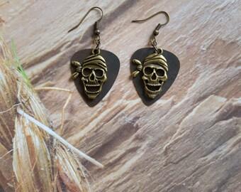 Steampunk Style Skull Guitar Pick Earrings Dead Pirate Jewelry