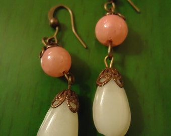 Boho Vintage Inspired Bridal Collection Pink and White Dangle Dewdrop Earrings