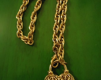 Vintage 1990s Ornate Gold Heart Necklace
