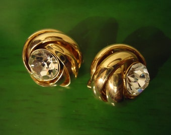 Vintage 1980s Boho Gold Crystal Clip On Earrings