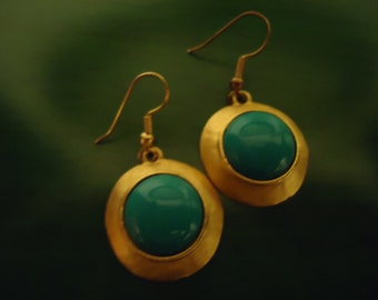 Vintage 1980s Turquoise Gold Round Drop Dangle Pierced Earrings