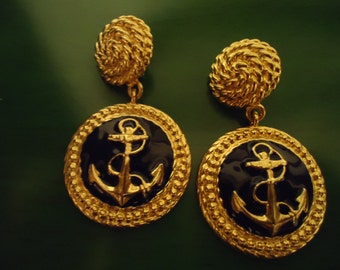 Vintage 1990s Sailor Coin In Gold Drop Earrings