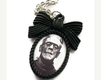 Frankenstein Necklace, Black Cameo, Horror, Silver Chain