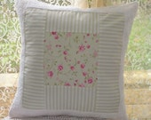 Cushion Cover - home decor - one size 16 in lovely patchwork cotton shabby chic rose, stripe, and chenille on front with pink and white back