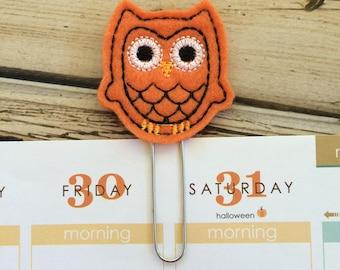 Owl Bookmark, Book Accessories, Felt Planner Clips, Planner Page Marker, Planner Book Mark, Book Markers - Orange