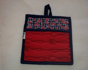 9 X 8 Watermellon, Red, Blue and Black, Pot Holder, Hot Pad, Oven Mitt, Insulated, Quilted, Pocket, Kitchen