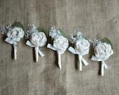 Boutonnieres Rustic Boutineer Groomsmen Ivory For the Groom Ring Bearer Wedding Dried Flowers Keepsake Custom