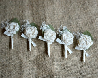Boutonnieres Rustic Boutineer Groomsmen Ivory For the Groom Ring Bearer Wedding Dried Flowers Keepsake Custom