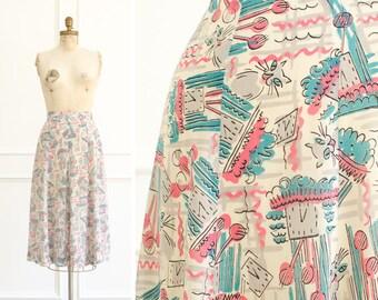 Vintage Cat / Clock Silk Skirt - Mid Century