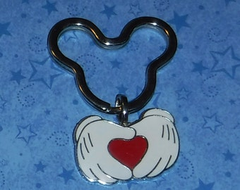 Micket Mouse Hands and Heart Key Chain, Re-Purposed from Disney Trading Pin, 2 Inches Long